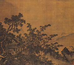 《梧竹溪堂图》  宋 夏圭 绢本设色 纵23厘米 横26厘米 北京故宫博物院藏     图中描绘山居景色。远山青翠如屏,山溪江流处水势平缓,水际丛竹新篁,清润可爱,高大的梧桐树枝叶繁茂,亭亭如盖。在极其逼仄的尺幅间,画家运用的构图的繁简对比和表现手法的虚实映衬,反映了极为丰富的物象与艺术内涵。此图以空蒙的山林为背景,并将溪堂及人物拉近,刻画至精至细,在笔墨上,多用重笔,转折方硬,富于力度感,墨色浑厚古朴,耐人寻味。其设色以淡石绿、花青为主调,充分显示了画家在控制浓墨与淡色的技巧上有高超的艺术造诣。