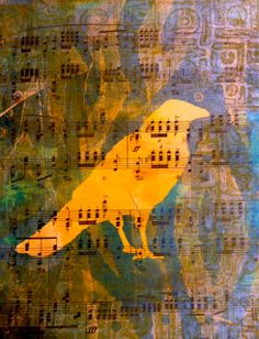 From a gelli session last weekend. Printed on vintage sheet music using a mask I cut from a report cover! Kris Zorko