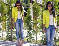 Zara Neon Tweed Blazer, Urban Outfitters Boyfriend Jeans, Maya Brenner California State Pendant - Shoes of Prey || Design your perfect shoes online || Buy or customise now!
