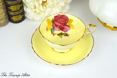 Paragon Signed By The Artist Reg Johnson Light Yellow Teacup Set With Large Red Rose And Gold Leaves, Bone China Double Warrant Tea Cup Set