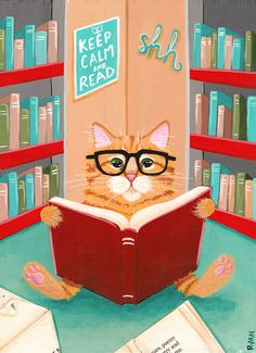 The Library Cat Original Cat Folk Art Painting by KilkennycatArt