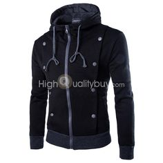 Men's Double-breasted Long Sleeve Zipper Hooded Sweater Black - $17.73
