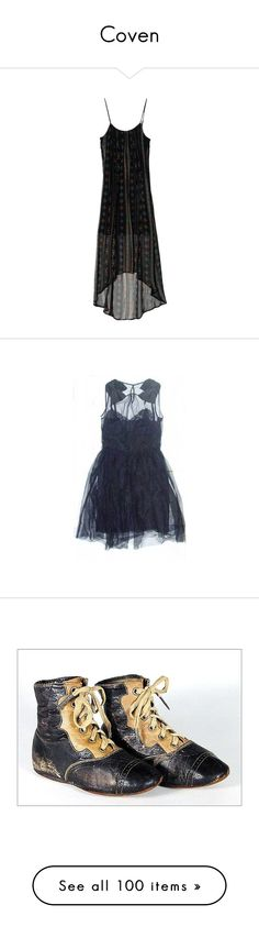 """Coven"" by nebraskka ❤ liked on Polyvore featuring dresses, women, chiffon maxi dress, black cami dress, chiffon camisole, long cami, maxi dress, vestidos, blue and short dresses"