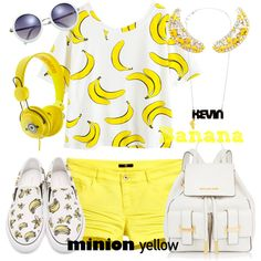 Minion Yellow by annetkor on Polyvore featuring мода, H&M, Sophia Webster, MICHAEL Michael Kors, Shourouk and Tatty Devine