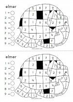 Ganzenbord Elmer - kleurplaat cijfers