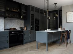 other part of kitchen with great combo of materials. The Hackney Kitchen by Buster + Punch other part of kitchen with great combo of materials. The Hackney Kitchen by Buster + Punch Kitchen Inspirations, New Kitchen, Blue Kitchens, Beautiful Kitchens, Kitchen, Kitchen Diner, Kitchen Design, Kitchen Trends, Kitchen Remodel