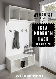Cheap DIY mudroom bench and storage from IKEA Stolmen units for under 200 Links to tutorial Mudroom Storage Bench, Bench With Storage, Shoe Storage, Garage Storage, Diy Storage, Entryway Storage, Diy Bench, Table Storage, Ikea Hack Bench