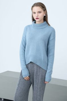 Light Blue Turtleneck High & Low Sweater