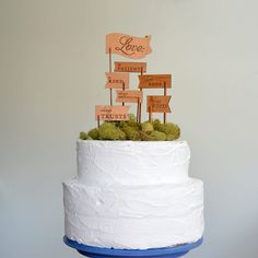 What a unique idea for a cake topper!  Love is Patient Love is Kind Keepsake Cake Topper by FigsAndGinger, $62.00