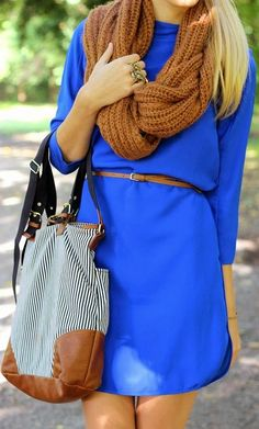brown scarf bright blue dress gray handbag summer casual style fashion women apparel clothing outfit hot skirt scarf and bag fashion Fashion Moda, Look Fashion, Fashion Outfits, Fashion Women, Fashion Ideas, Fashion Hub, Brown Fashion, Teen Fashion, Outfits Tipps