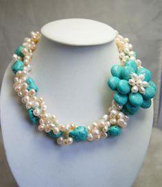 flor de collar collar de abalorios oferta por audreyjewelry en Etsy, $33.50