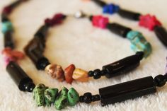 Black Coral necklace and bracelet with naturally colored smooth rocks