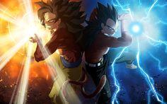 Goku and Vegeta Wallpaper. Epic poster of Goku and Vegeta at Super Sayain level charging up a blast. O Goku, Goku Dragon, Akira, Manga Dbz, Anime Fnaf, Super Goku, Majin Boo, Goku Wallpaper, Dragonball Wallpaper