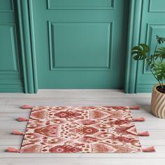 Pink/Orange Ikat Braided Tasseled Accent Rug - Opalhouse™ - image 3 of 3