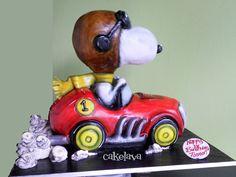 snoppy racecar cake