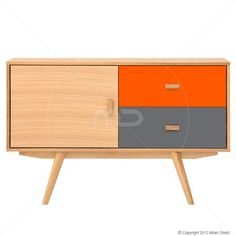 Sofia Sideboard - Scandinavian Furniture - Ash, Orange
