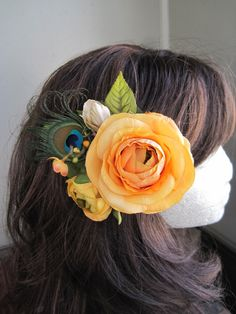 Tangerine rose peacock hair clip fascinator by Calicogarden, $22.00