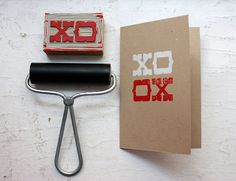 XOXO card. like the stamp. bet I could make one if I wanted with my printmaking carving tools...