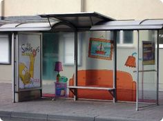 Most of the bus stops are plain without any creativity, but what we have here isn't one of the regular ones. Each of the bus stops that we have here are unique in its own way. Bus Stop Advertising, Out Of Home Advertising, Creative Advertising, Street Marketing, Guerilla Marketing, Bus Stop Design, The Simpsons Movie, Bus Stand, Bus Shelters