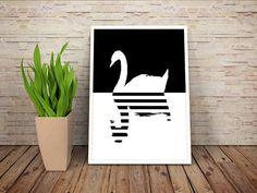 #Swan Art #wallart original modern interiors wall di NeroliDesign