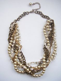 Champagne pearl antique gold chains silver by WildStoneJewels, $42.50