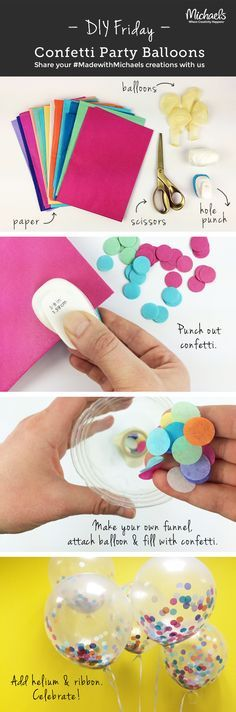 Add a pop of color to any party with these #DIYFriday Confetti Balloons! Make in just a few easy steps!