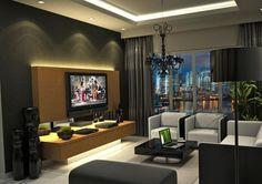 salon moderne avec éclairage indirect et ensemble mural tv en bois et à LED