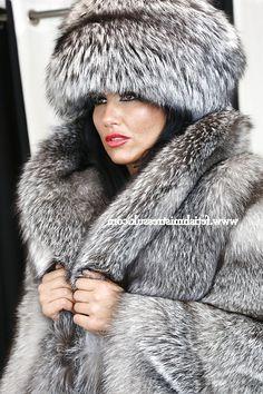 Silver Fox Hat & Indigo Fox Coat