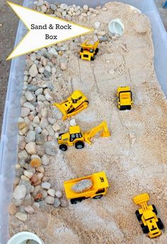 Sand and Rock Box - FSPDT How to make a sand and rock box for your kids play trucks.How to make a sand and rock box for your kids play trucks. Sensory Table, Sensory Play, Toddler Sensory Bins, Sensory Rooms, Toddler Play, Toddler Crafts, Toddler Games, Children Play, Infant Activities