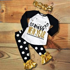 Girl HolidayOutfit, Miss New Year Black & Gold Polka Dot Outfit, Toddler Girl Outfit, Kids, Clothes Girl Clothing Childrens Clothing, by MoxieGirlBoutique on Etsy