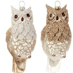 RAZ Imports - Winter Song - Set of 2 White & Brown Glass Owl Christmas Tree Ornaments
