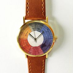 Vintage Color Wheel  Watch , Vintage Style Leather Watch, Mens Watch, Women Watches, Boyfriend Watch, Spring , Personalized Watch, Unique