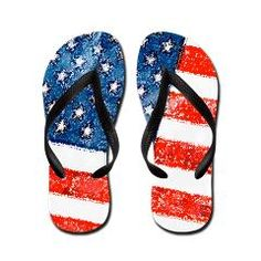 Grungy USA Flag Flip Flops> Grungy American Flag> Victory Ink Tshirts and Gifts