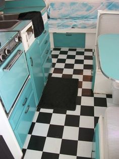 SEE HOW CUTE THE CHECKERBOARD FLOOR LOOKS WITH THE TURQUOISE? NOW I HAVE TO CONVINCE HIM