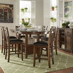 iNSPIRE Q Tuscany Brown Wood Wine Rack Counter ight Extending Dining Table Set by Classic 6 7Piece Sets * Details can be found by clicking on the image.-It is an affiliate link to Amazon. #DiningSets