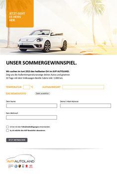 AVP-Autoland || Sommergewinnspiel || Gewinnspielapp mit Fotoupload || inklusive Fotoalbum Volkswagen, Facebook, Autos, Convertible, Photograph Album, Summer Recipes