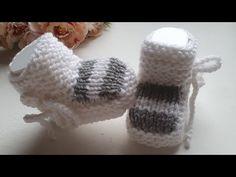 Пинетки спицами для новорожденных. - YouTube Baby Knitting, Crochet Baby, Knit Baby Dress, Knit Patterns, Fingerless Gloves, Arm Warmers, Baby Kids, Socks, Crafts