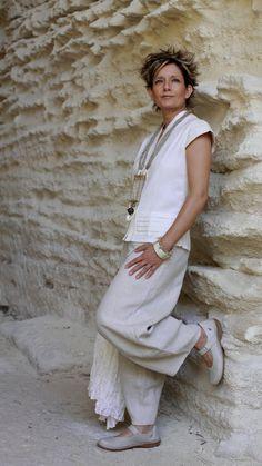 natural color linen pants with a silk/cotton blouse