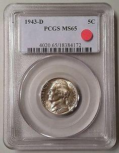 1943-D Silver Jefferson War Nickel PCGS MS65 Gem Mint State BU UNC Uncirculated