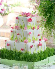 Pink Tulip Wedding Cake
