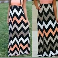 Zig Zag Summer Maxi - Orange Top Take the plunge in this colorful zig- zag print designed maxi. Simple and versatile, this dress will look perfect with a pair of flats or sandals. Beautiful new summer maxis in time for the warm weather.   Eye catching zig zag patterns. It has an elastic stretch waist. Measures 48.5 inches long and 24 inches across hips. The bust is 18 inches flat, but does stretch.  Long dress and breathable polyester material.  90% Polyester 10% Spandex Machine Dresses Maxi