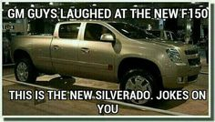 Could this really be the new look for the Silverado? This may take some getting used to so I think I'll hold all judgement for now. What do you think of the new design? Chevy Memes, Truck Memes, Car Jokes, Funny Car Memes, Stupid Memes, Chevy Vs Ford, 2014 Chevrolet Silverado 1500, Chevrolet Camaro, Chevy Trucks