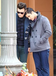 Darren Criss and Chris Colfer filming Glee in LA on February 25, 2014
