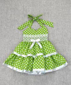Lime Polka Dot Halter Dress - Toddler & Girls