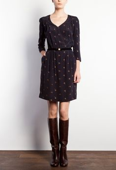 robe raquette, marine. claudie pierlot, why must you do this to me? and those boots, gah.