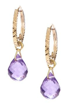 14K Yellow Gold Amethyst Briolette Dangle Earrings by Candela on @HauteLook