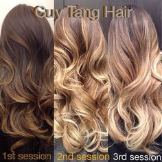 So here is my client Jaling 3 stages to get her to icy blonde! Each session was colored and cut by me 6 months apart, she started with super...