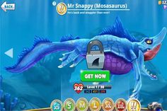 """In the Hungry Shark world game, there is a """"!' tier consists of very strong and fast sharks. Hungry Shark World Mr. Snappy (Mosasaurus) is among the tier and i Shark Facts For Kids, Shark Games, Sharks, Google Play, Evolution, Effort, Teeth, Coins, Nerd"""