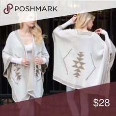 "TRIBAL PATTERN ONE SIZE PONCHO DIAMOND DESIGN TRIBAL PATTERN ONE SIZE PONCHO DIAMOND DESIGN, one size, perfect for the seasons, 100% acrylic, 55"" x 41"", mocha and off white, buttons for arm slits Sweaters Shrugs & Ponchos"