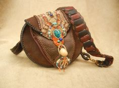 Leather Purse Hand Laced and Inlaid with Micro Macrame and Stones, featuring Chrysocolla